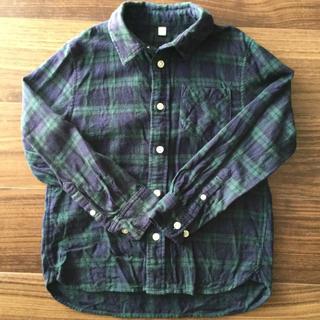 ムジルシリョウヒン(MUJI (無印良品))の無印良品♡フランネルシャツ♡グリーンチェック♡130サイズ(ブラウス)