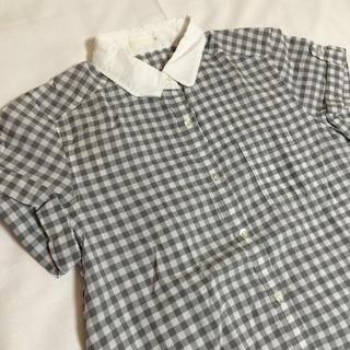 ジーユー(GU)の淡いグレーのギンガムチェックシャツ♡(シャツ/ブラウス(半袖/袖なし))