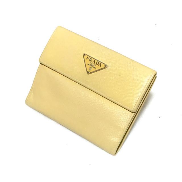 aa8d554e4a33 PRADA(プラダ)のPRADA プラダ 二つ折り財布 サフィアーノ レザー イエロー 黄色 P76 レディース