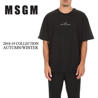 エムエスジイエム(MSGM)の4 MSGM 18aw ブラックTシャツ メンズ size L(Tシャツ/カットソー(半袖/袖なし))