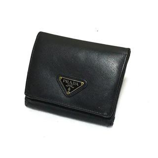 b26237dcf542 プラダ(PRADA)のPRADA プラダ 三つ折り財布 サフィアーノ レザー ネロ ブラック P79(