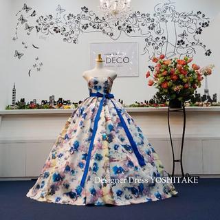 ウエディングドレス(パニエ無料) 水彩画風ドレス 披露宴/二次会(ウェディングドレス)
