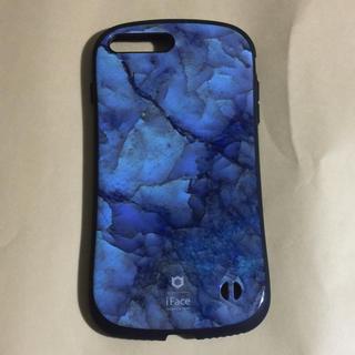 アイフォーン(iPhone)のiFace アイフェイス iPhone8Plus 大理石 青 ブルー 一度試着(iPhoneケース)