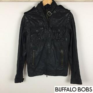 バッファローボブス(BUFFALO BOBS)の美品 バッファローボブズ レザージャケット ブラック サイズ2(レザージャケット)
