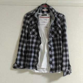 ハイダウェイ(HIDEAWAY)の【まとめ買い対象】ハイダウェイ チェックシャツ 白黒 46サイズ(シャツ)