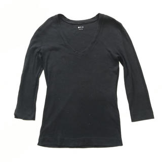 スリードッツ(three dots)のスリードッツ アメリカ製 黒 肌触り抜群 洗濯強い 七分袖 ロンティー 綿100(Tシャツ(長袖/七分))
