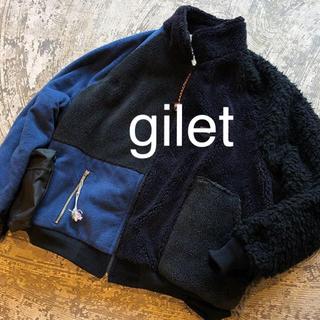 ジレ(gilet)のGILET ジレ リメイク フリースジャケット フリース パッチワーク(ブルゾン)