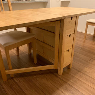 イケア(IKEA)のイケア ダイニングテーブル ノールデン 伸長式 2人用 4人用(ダイニングテーブル)