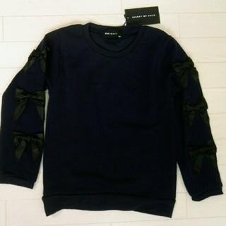 シスキー(ShISKY)の130 ネイビー リボン付き 裏起毛 トレーナー(Tシャツ/カットソー)