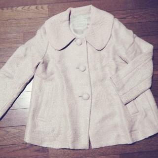 Hanskin ピンクの襟刺繍ハーフコート