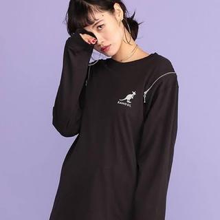 ジュエティ(jouetie)のkangol ジップ付き ロングスリーブ Tシャツ ブラック(Tシャツ/カットソー(七分/長袖))