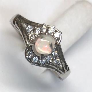 天然ウォーターオパールとまczダイヤ シルバー925リング(リング(指輪))