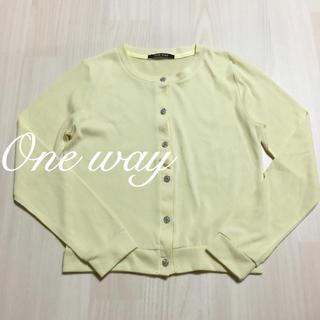 ワンウェイ(one*way)のOne way♡ビジューボタンカーディガン イエロー(カーディガン)