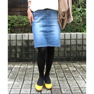 キュー(Q)のQデニムタイトスカート♪美品(ひざ丈スカート)