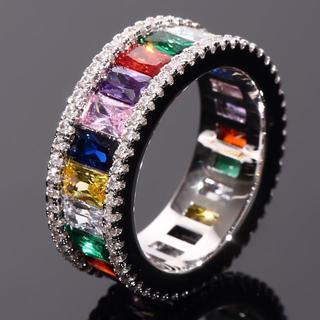 レインボーカラーリング WG ホワイトゴールド メンズレディース(リング(指輪))