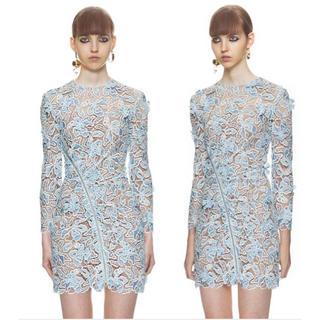 セルフポートレイト(SELF PORTRAIT)のワンピース 長袖 透け感 切り替え チュール スリム ファッション(ミニワンピース)