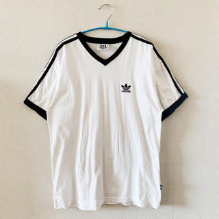 アディダス(adidas)の●adidasアディダス/ロゴマークTシャツ●ヴィンテージ古着レアストラップ(Tシャツ/カットソー(半袖/袖なし))