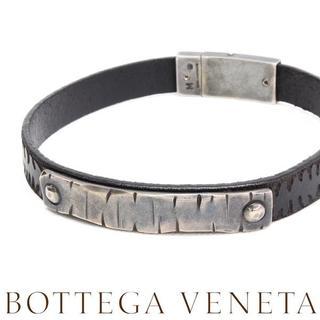 ボッテガヴェネタ(Bottega Veneta)の18BOTTEGA VENETAシルバー&レザー ブレスレット size M(ブレスレット)