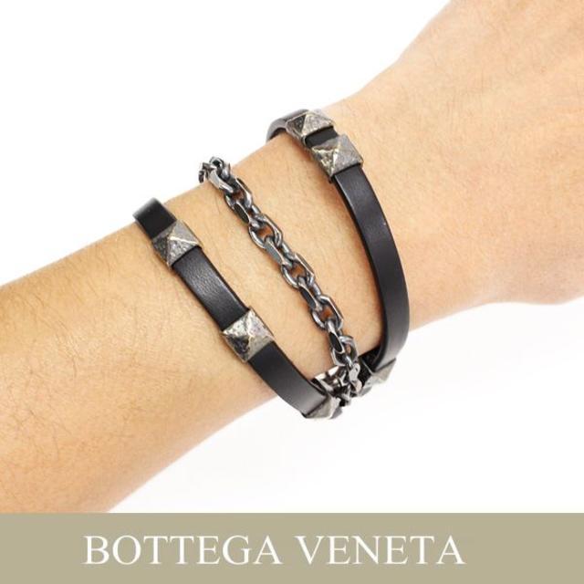 Bottega Veneta(ボッテガヴェネタ)の14BOTTEGA VENETAレザー&シルバーチェーン ブレスレットS メンズのアクセサリー(ブレスレット)の商品写真