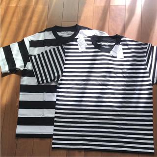 ムジルシリョウヒン(MUJI (無印良品))の新品 未使用 無印 ボーダー  Tシャツ 2枚 セット MUJI LABO(Tシャツ/カットソー(半袖/袖なし))