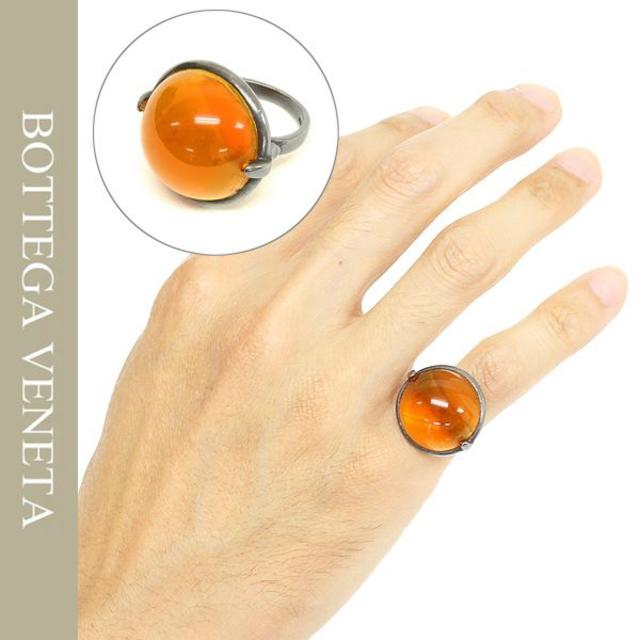 Bottega Veneta(ボッテガヴェネタ)の10BOTTEGA VENETA天然石&オキシダイズドシルバーリング メンズのアクセサリー(リング(指輪))の商品写真