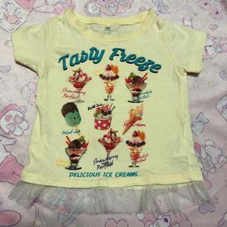 シマムラ(しまむら)のキッズ ベビー 女の子 Tシャツ アイスクリーム 80cm レース 黄色(Tシャツ)