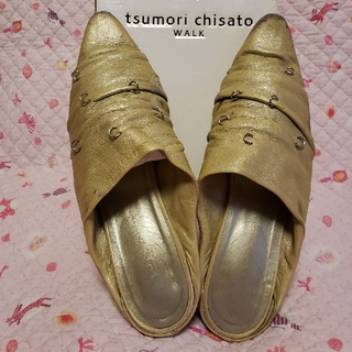 ツモリチサト(TSUMORI CHISATO)のツモリチサトウォーク ゴールド Mサイズ used(ミュール)