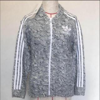 アディダス(adidas)のアディダスオリジナルス ウールニットジャケット グレー チャンキーニット(ニット/セーター)
