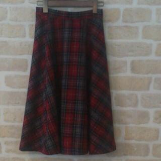 メリージェニー(merry jenny)のmerryjenny チェックバイアスMスカート レッド 赤 チェック柄(ひざ丈スカート)