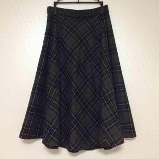 メリージェニー(merry jenny)のmerryjenny チェックバイアスMスカート 黒 グレー チェック柄(ひざ丈スカート)