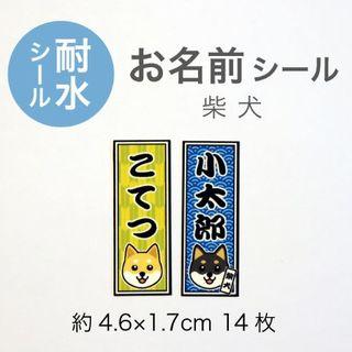 【耐水お名前シール】柴犬のイラスト入り/ 千社札風シール(その他)
