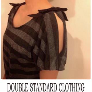 ダブルスタンダードクロージング(DOUBLE STANDARD CLOTHING)のダブスタ❤︎ボーダーカットソー❤︎肩リボン(カットソー(半袖/袖なし))