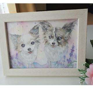 ペット&お花の水彩オーダーイラスト似顔絵 2Lサイズ額付き(その他)