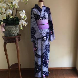 レトロな浴衣絞り  ピンク  ✳︎  リユース(浴衣)