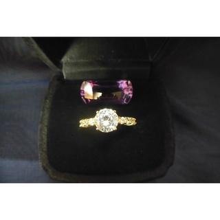 大粒 CZダイヤモンドリング *イエローゴールド系* 5号サイズ(リング(指輪))