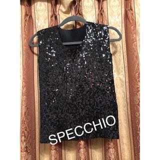 スペッチオ(SPECCHIO)のSPECCHIO スパンコール トップス カットソー 40(カットソー(半袖/袖なし))