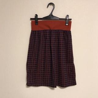 クスクス(kuskus)のkus kus ネイビー×オレンジ チェック ウエストゴム スカート(ひざ丈スカート)