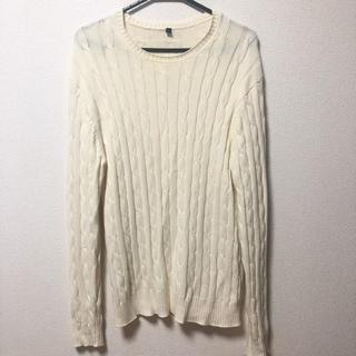ムジルシリョウヒン(MUJI (無印良品))の無印良品 ケーブルニット 白 ホワイト メンズ(ニット/セーター)