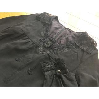 インゲボルグ(INGEBORG)のインゲボルグ刺繍ウール混長袖ワンピースS(ロングワンピース/マキシワンピース)