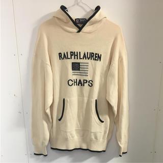 チャップス(CHAPS)のラルフローレン チャップス 白 ポケットつきニットパーカー(ニット/セーター)