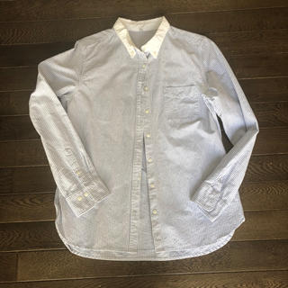 ムジルシリョウヒン(MUJI (無印良品))の無印良品 オーガニックコットン ストライプ ボタンダウンシャツ L(シャツ/ブラウス(長袖/七分))