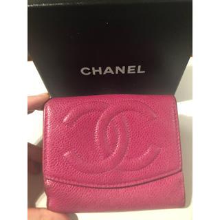 シャネル(CHANEL)のCHANEL シャネル キャビアスキン ピンク 2つ折り 財布 ココ(財布)