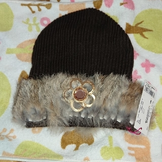 マリークワント(MARY QUANT)のあみ様専用 タグ付き マリークワントラビットファーニット帽 MARYQUANT(ニット帽/ビーニー)