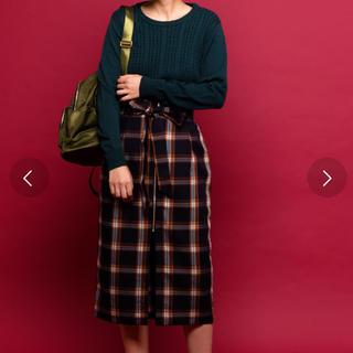 アントマリーズ(Aunt Marie's)のAUNT MARIE'S フロントジップナローチェックスカート(ひざ丈スカート)