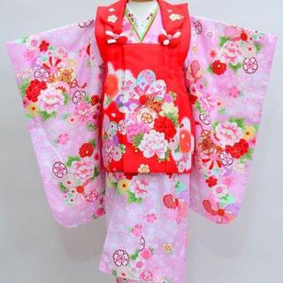 七五三 3歳 女児 新品 花ひめ 被布着物セット 半衿足袋付き NO18474(和服/着物)