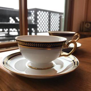 オオクラトウエン(大倉陶園)の大倉陶園  ゴールドウィング瑠璃金彩 カップ&ソーサー 2客(食器)