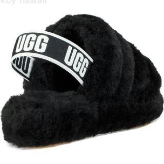 アグ(UGG)の大人気UGGサンダル ブラック FLUFF YEAH SLIDE(サンダル)