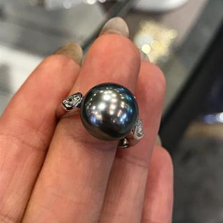 pt900 12mm タヒチ黒蝶真珠 ダイヤモンド リング 12号(リング(指輪))
