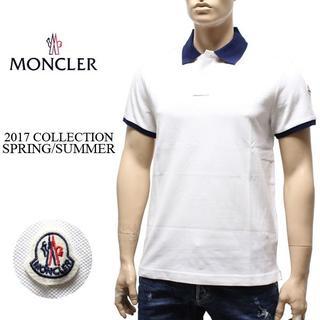 モンクレール(MONCLER)の11MONCLER17ss 半袖 襟裏ロゴ ポロシャツ ホワイト size L(ポロシャツ)