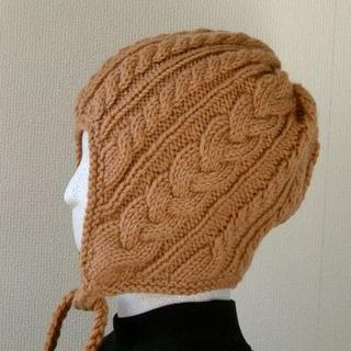 手編み★ブラウン耳当帽子★ケーブル模様★M~L(帽子)